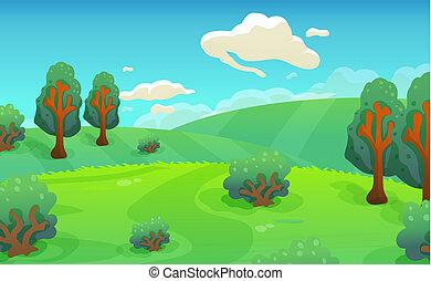 paisagem, caricatura, fundo, natureza