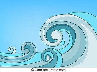 paisagem, caricatura, mar, natureza