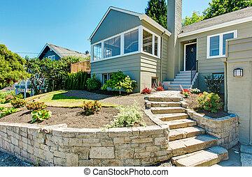 paisagem, casa, trim., pedra, jarda, frente, exterior