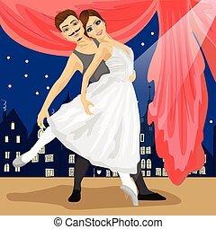 paisagem, cidade, balé, par, fairytale, dançarinos, posar, sobre
