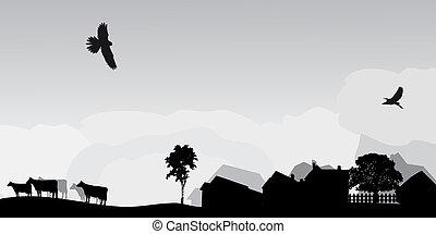 paisagem, cinzento, árvores, vila