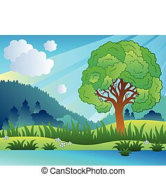 paisagem, com, árvore frondosa, e, lago