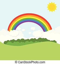 paisagem, com, arco íris, e, sun., vetorial, ilustração