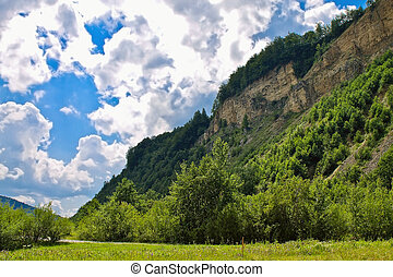 paisagem, com, céu nublado