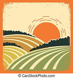 paisagem, com, campos, ligado, antigas, cartaz