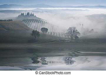 paisagem, com, colinas, reflexão, em, água