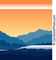 paisagem, com, crepúsculo, em, montanhas azuis
