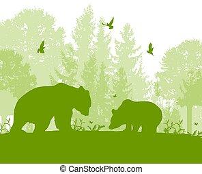 paisagem, com, dois ursos