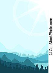 paisagem, com, picos montanha
