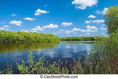 paisagem, com, rio, e, clouds.