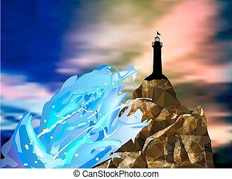 paisagem, com, silueta, de, farol, mar, ondas, e, céu dramático