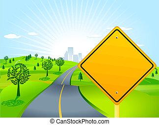 paisagem, com, sinal estrada