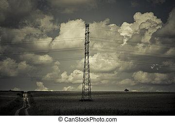 paisagem, com, tensão alta, fios