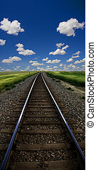 paisagem, com, trilhas trem