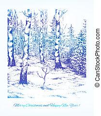 paisagem., darwn, vindima, mão, vetorial, desenho, seu, cartão, natal
