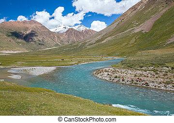 paisagem, de, azul, rio, e, montanhas, tien, shan