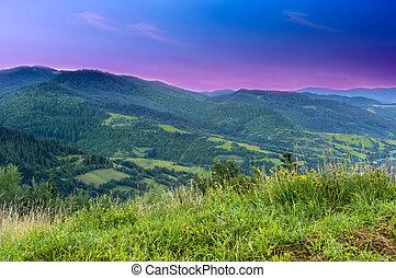 paisagem, de, montanhas, em, a, começo matutino