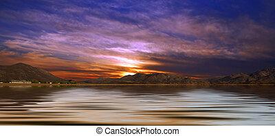 paisagem deserto, com, água