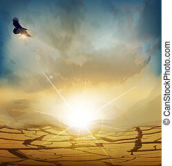 paisagem deserto, com, sol ascendente