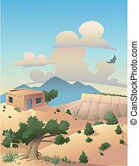 paisagem, deserto, ilustração