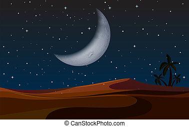 paisagem deserto, noturna