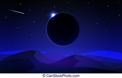 paisagem, eclipse, deserto, solar, noturna