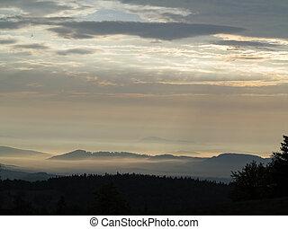 paisagem, em, a, começo matutino