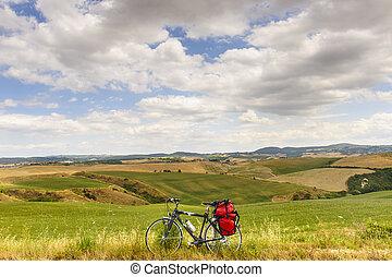 paisagem, em, val, d'orcia, (tuscany), com, bicicleta