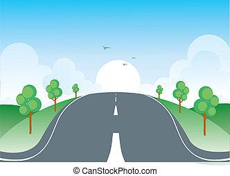 paisagem., estrada, ilustração, vetorial, natureza