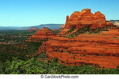 paisagem, eua, natureza, panorâmico, arenito, vermelho