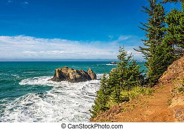 paisagem, eua, pacífico, costa oregon