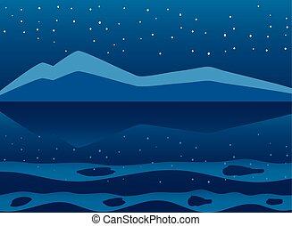 paisagem, fluxo, céu, rio, estrelas, montanhas, noturna