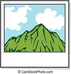 paisagem, foto, ícone