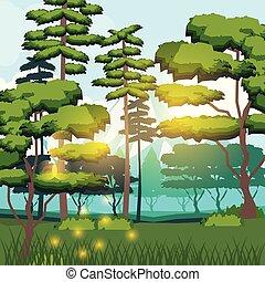 paisagem, fundo, floresta, coloridos, manhã