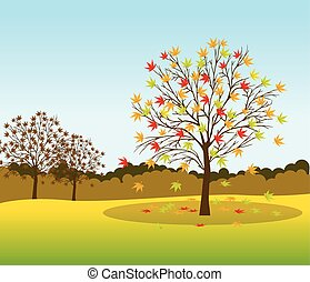 paisagem, fundo, outono