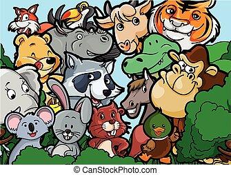 paisagem, Grupo, floresta,  animal