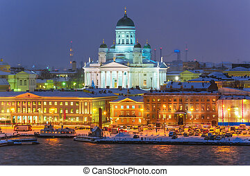 paisagem, helsínquia, finland, inverno, noturna