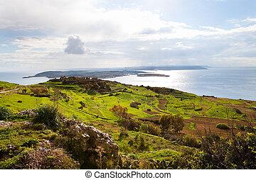 paisagem, ilha, malta, gozo
