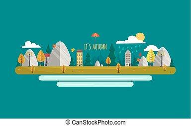 paisagem., illustration., apartamento, natureza, sol, rio, outono, vetorial, chuva, style., montanhas