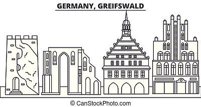paisagem., illustration., cityscape, marcos, vistas, vetorial, famosos, greifswald, linha, alemanha, skyline, cidade, linear