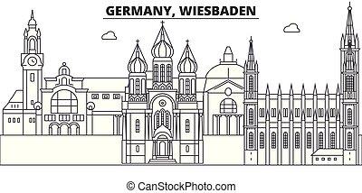 paisagem., illustration., cityscape, marcos, vistas, vetorial, famosos, linha, alemanha, skyline, wiesbaden, cidade, linear