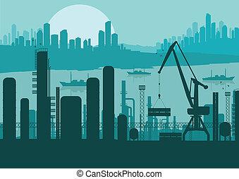 paisagem, industrial, fundo, ilustração, fábrica