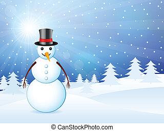 paisagem inverno, boneco neve