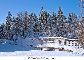paisagem, inverno, cerca, neve