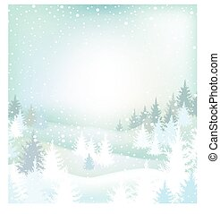 paisagem inverno, com, árvores