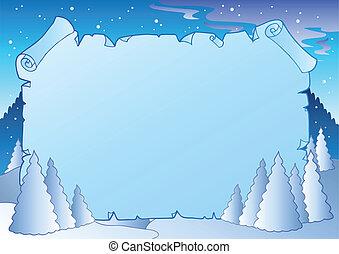 paisagem inverno, com, azul, scroll