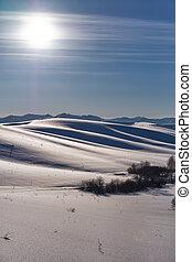 paisagem inverno, com, calcanhares, sob, neve, com, sol, ligado, céu azul