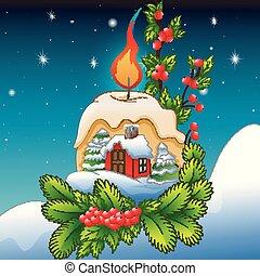 paisagem inverno, com, neva-coberto, casa, e, decorações natal, com, velas