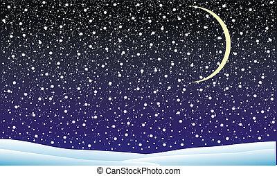paisagem inverno, com, queda, neve, à noite