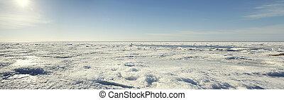 paisagem., inverno, congelado, panorama, costa, mar, báltico, vista